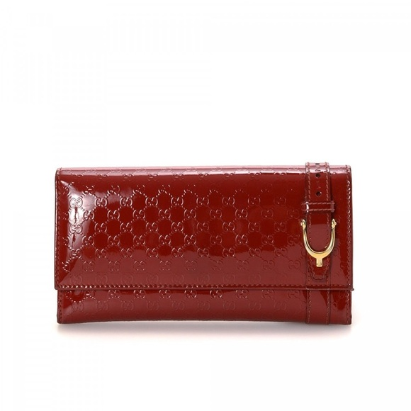 48dd29cc98afe7 Gucci Handbags - Gucci Women's Red Microssima Patent Leather Wallet